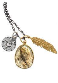 BRAVE LOTUS Wandering Spirit Necklace - Gold, Silver & Labradorite