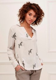 Great Plains Skylark Blouse - Lunar Grey Combo
