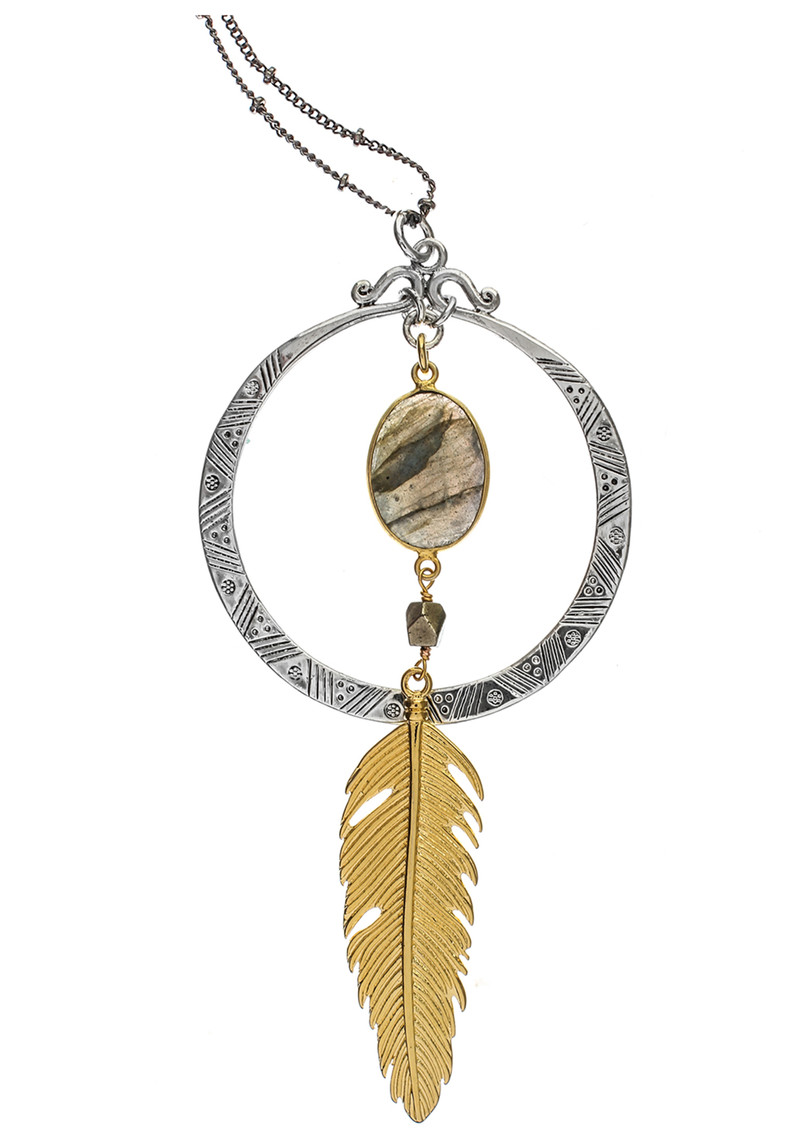 BRAVE LOTUS Feather in the Wind Necklace - Gold & Silver main image