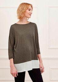 Great Plains Remix Contrast Hem Tee - Combat & Seasalt