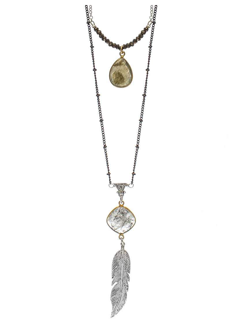 BRAVE LOTUS Bohemian Double Layer Jewel Necklace - Silver main image