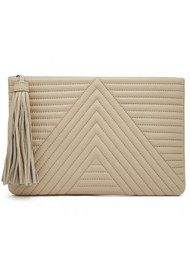 MIGHTY PURSE Mighty Purse Geo Quilted Clutch - Cream