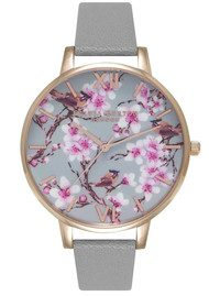 Olivia Burton Painterly Prints Blossom Birds Floral Watch - Grey & Rose Gold