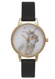 Olivia Burton Woodland Vegan Friendly Bunny Watch - Black & Gold