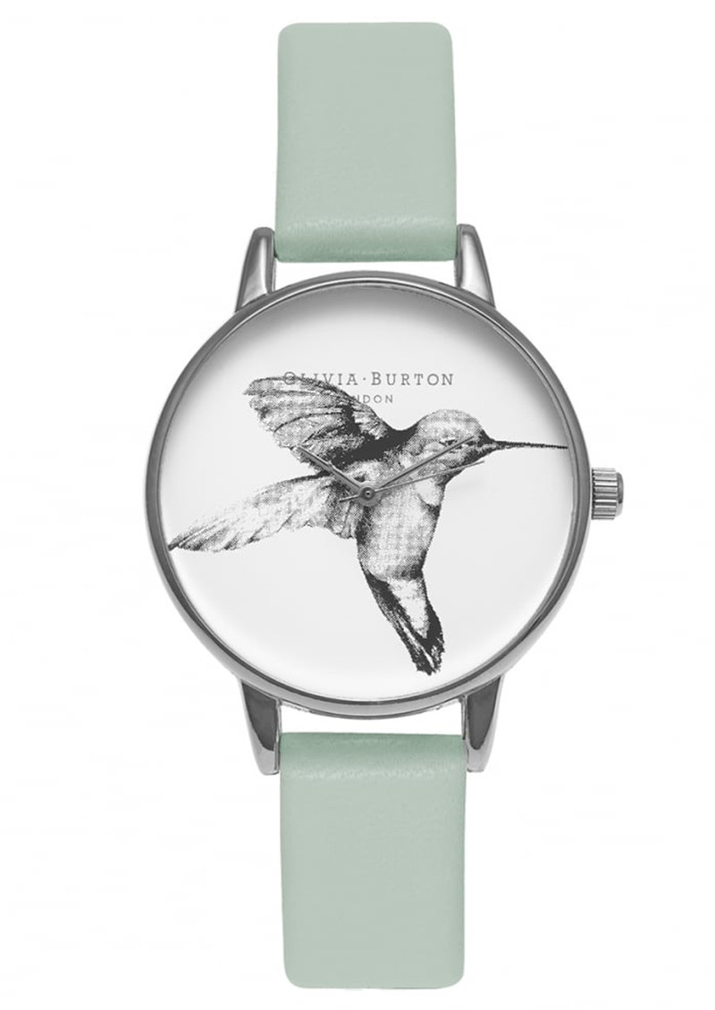 Animal Motif Hummingbird Watch - Mint & Silver main image
