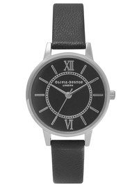 Olivia Burton Wonderland Black Dial Watch - Black & Silver