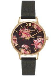 Olivia Burton Winter Garden Midi Rose Watch - Black & Gold