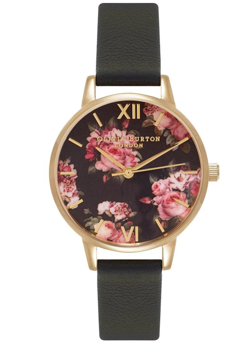 Olivia Burton Winter Garden Midi Rose Watch - Black & Gold main image