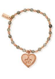 ChloBo Labradorite Sparkle Heart Flower Bracelet - Rose Gold