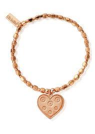 ChloBo Luna Soul Didi Cube Multi Flower Heart Bracelet - Rose Gold