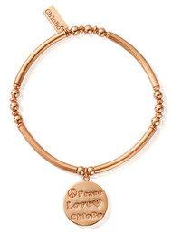 ChloBo Noodle Ball Disc Peace Love Chlobo Bracelet - Rose Gold