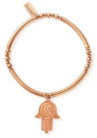 ChloBo Luna Soul Noodle Ball Disc Moon & Stars Hamsa Hand Bracelet - Rose Gold