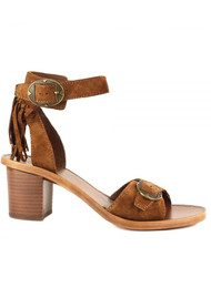 Ash Pepper Fringe Suede Sandals - Sigaro