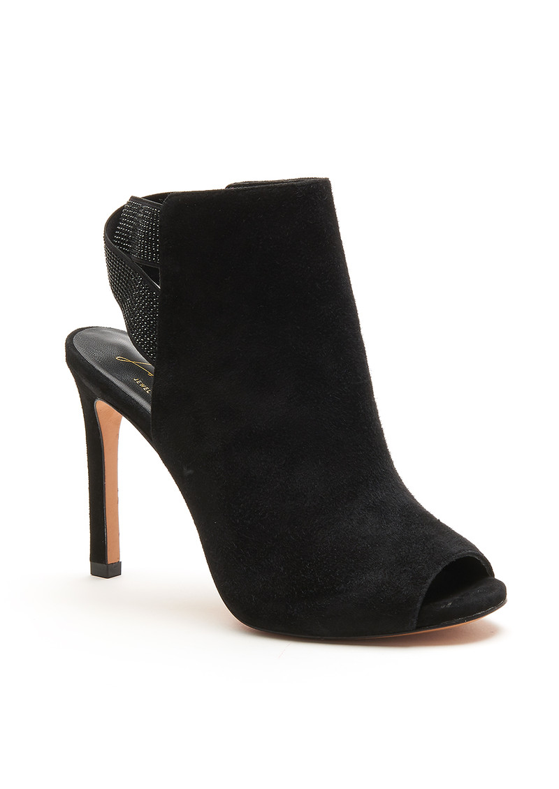 Lola Cruz Sparkle Suede Ankle Boot - Black main image