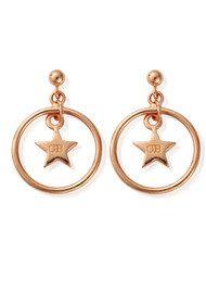 ChloBo Luna Soul Star Hoop Earrings - Rose Gold