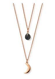 ChloBo Luna Soul Multi Way Labradorite Moon Necklace - Rose Gold