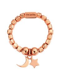 ChloBo Luna Soul Mini Cube Moon & Star Ring - Rose Gold