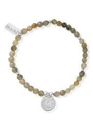 ChloBo Luna Soul Labradorite Cube Moon & Stars Bracelet - Silver