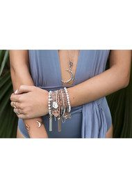 ChloBo Luna Soul Labradorite Moon & Stars Bar Bracelet - Silver