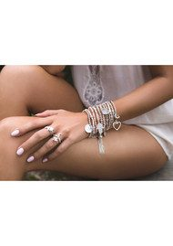 ChloBo Luna Soul Sparkle Ball Tassel Bracelet - Silver