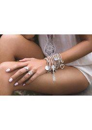 ChloBo Luna Soul Aventurine Sparkle Ball Multi Flower Heart Bracelet - Silver