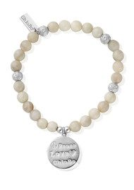 ChloBo Luna Soul Grey Agate Sparkle Ball Peace Love Chlobo Bracelet - Silver