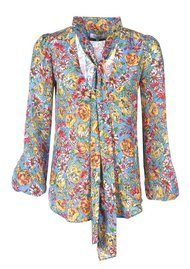 RIXO Moss Floral Blouse - Blue Bloom