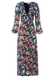 RIXO London Camellia Floral Dress - Black Bloom