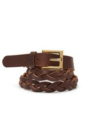 Black & Brown  Jessie Plaited Belt - Brown