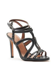 Lola Cruz Strappy Stitched Heels - Black