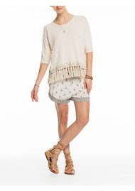 Maison Scotch Fringed Knitted Top - Off White