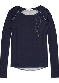 Maison Scotch Long Sleeve T-Shirt with Printed Back - Navy
