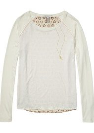 Maison Scotch Long Sleeve T-Shirt with Printed Back - Off White