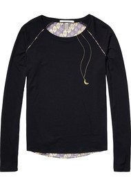 Maison Scotch Long Sleeve T-shirt With Printed Back -  Black