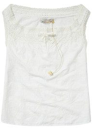 Maison Scotch Lace Trim Cotton Top - Vintage White