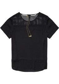 Maison Scotch Mesh Detailed Top - Black