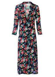 RIXO Sienna Duster Silk Coat - Black Floral