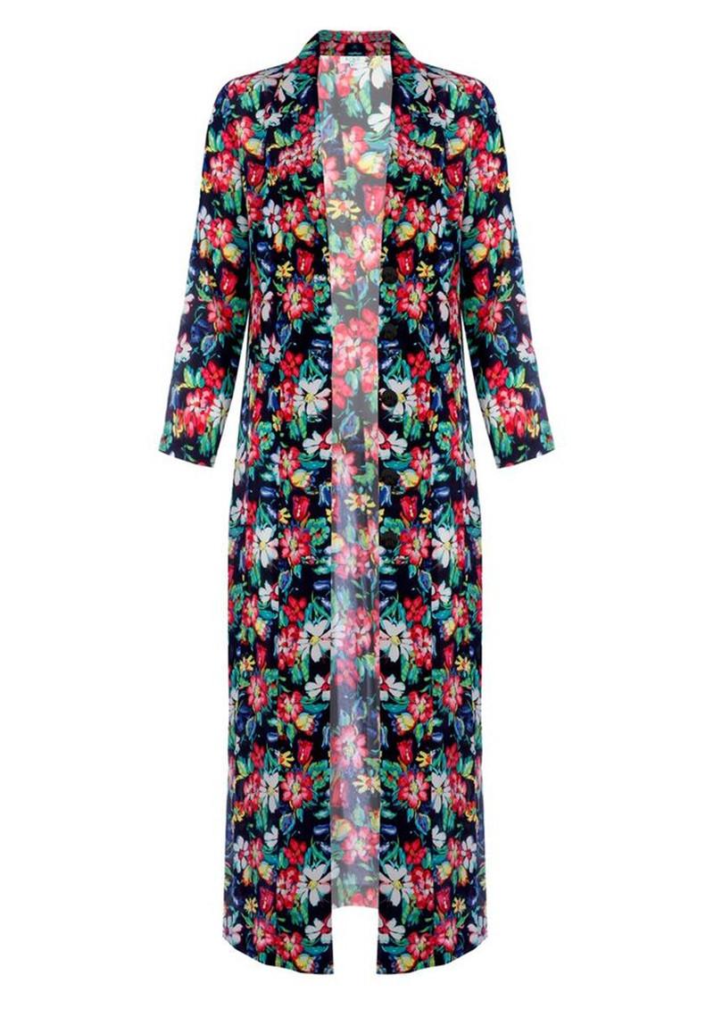 Rixo London Sienna Duster Silk Coat Black Floral