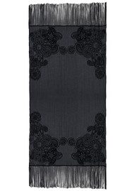 Lily and Lionel Stella Embroidered Cotton Scarf - Black