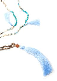 TRIBE + FABLE Dewi Tassel Necklace - Pale Blue & Turquoise