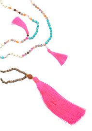 TRIBE + FABLE Dewi Tassel Necklace - Hot Pink & Turquoise
