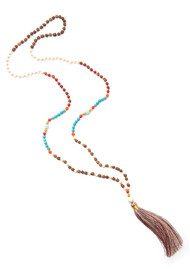 TRIBE + FABLE Single Tassel Necklace - Rajhastan Wood