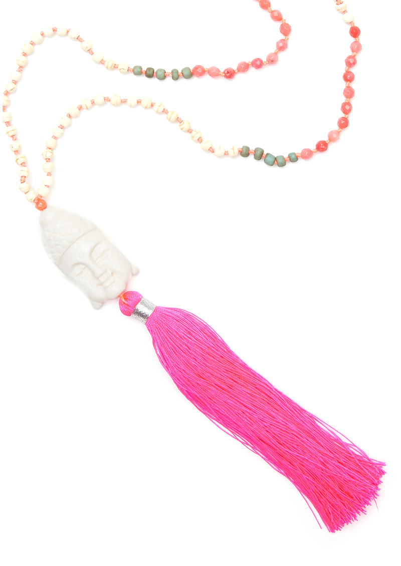 TRIBE + FABLE Buddha Tassel Necklace - Hot Pink main image