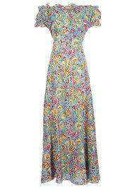 RIXO Issy Silk Maxi Dress - Blue Floral