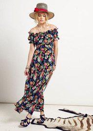 RIXO Issy Silk Maxi Dress - Black Floral