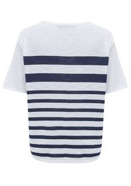 360 SWEATER Lindsay Striped Top - White & Navy