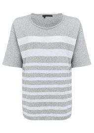 360 SWEATER Lindsay Striped Top - Heather Grey & White