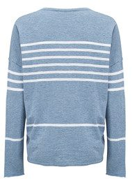 360 SWEATER Leigh Striped Sweater - Washed Denim