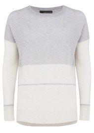 360 SWEATER Reilly Cashmere Sweater - Powder Grey & Chalk Stripe