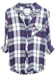 Rails Hunter Shirt - White, Navy & Cranberry